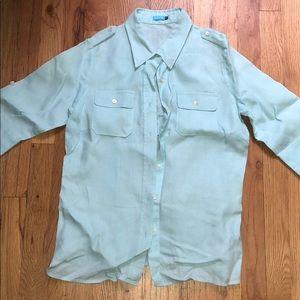 J. McLaughlin blue button down shirt